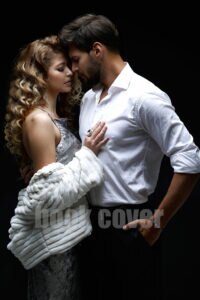 romantic couple in white on black background