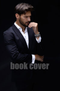 handsome model in black suit